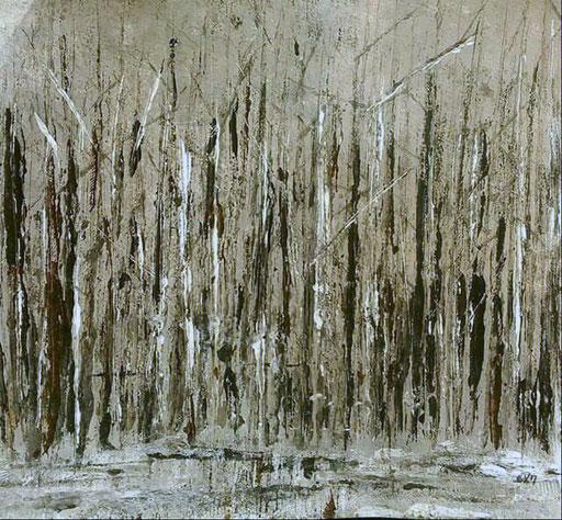 40. Winterbomen, 30x30 cm, acryl op papier