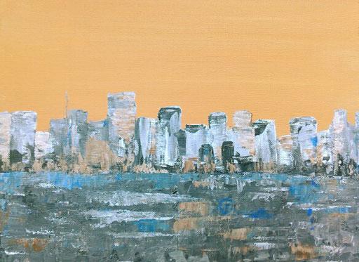 13. Skyline, 30x40 cm, acryl op canvas