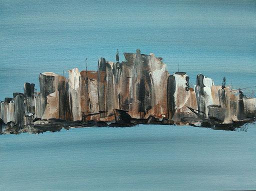 9. Skyline, 30x40 cm, acryl op canvas