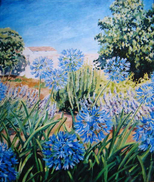 AGAPANTHUS, oil on canvas