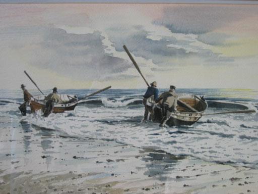 BEACH LAUNCH, watercolour