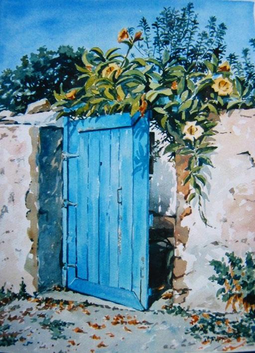 BLUE GATE MOROCCO, watercolour