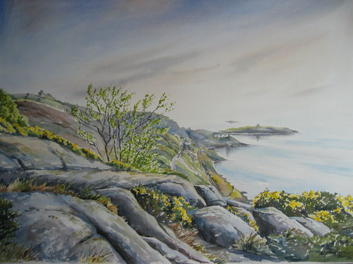 A VIEW OF DALKEY ISLAND, watercolour