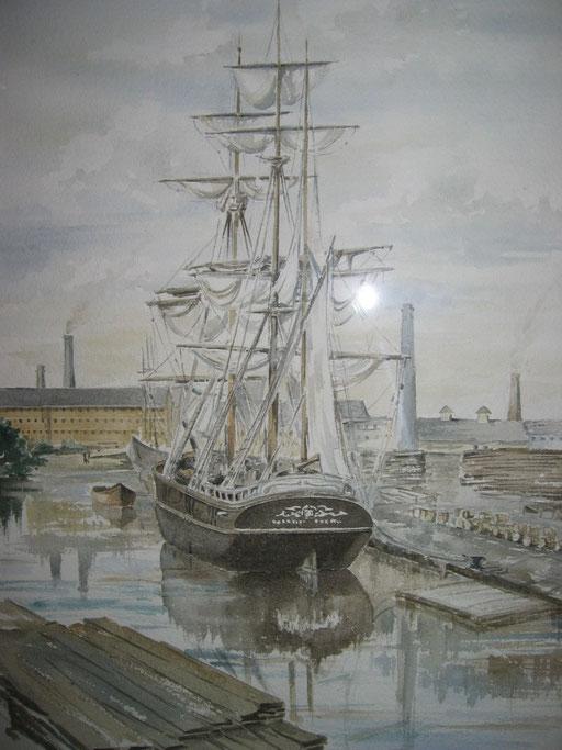 TALL SHIPS II, watercolour
