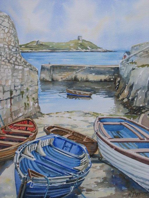 BOATS AT COLIEMORE, watercolour