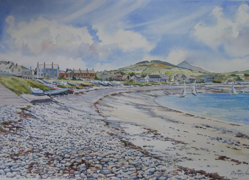 GREYSTONES BEACH, watercolour
