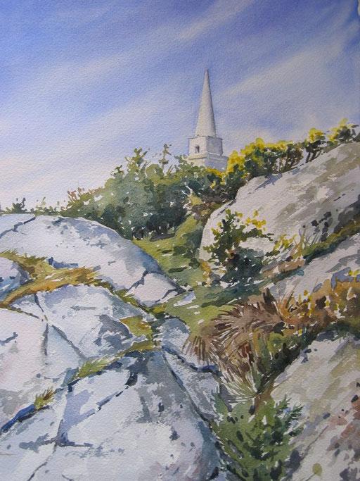 OBELISK AT KILLINEY HILL, watercolour