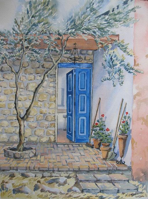 THE BLUE DOOR, watercolour