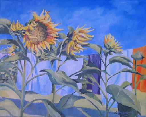 SUNFLOWERS, oil on canvas