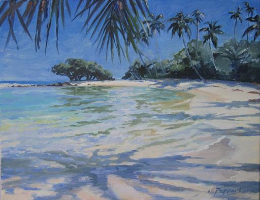 SRI LANKAN BEACH. oil on canvas
