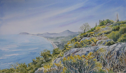 VIEW FROM KILLINEY HILL, watercolour