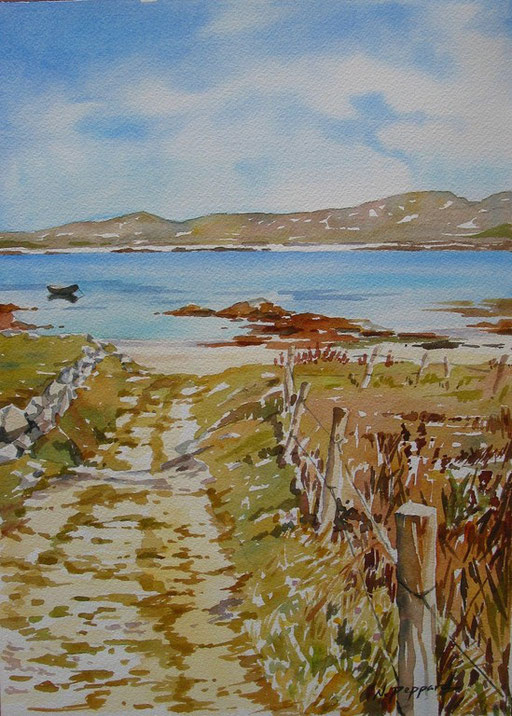 LANE TO THE BEACH, watercolour