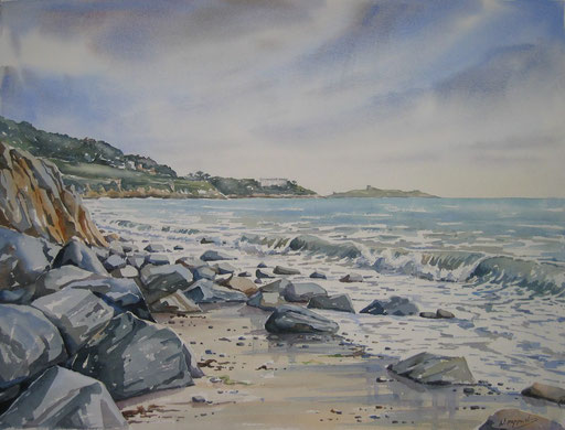 ON THE ROCKS. watercolour
