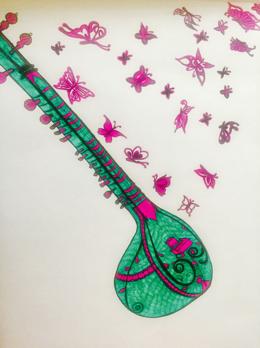The music that flows from the sitar, gives flutters to my ears and puts me in deep trance