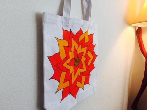 Mandala Art on Canvas Bag
