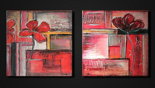 B 45 - Blumen Malerei Blumengemälde handgemalt zweiteiliges Sonnenhutbild