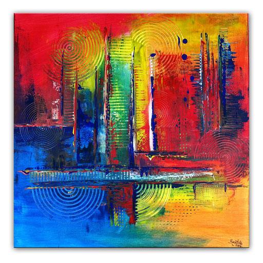 296 - Abstraktes Gemälde rot gelb blau Kamin 100x100