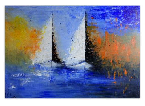 L 29 Feuersegler Gemälde Segelboote Nebel