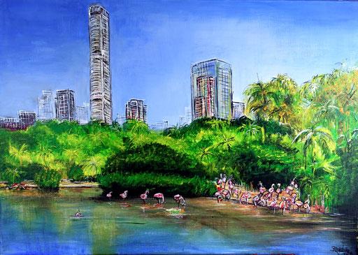S 41 - Hongkong Park Stadtbild Gemälde