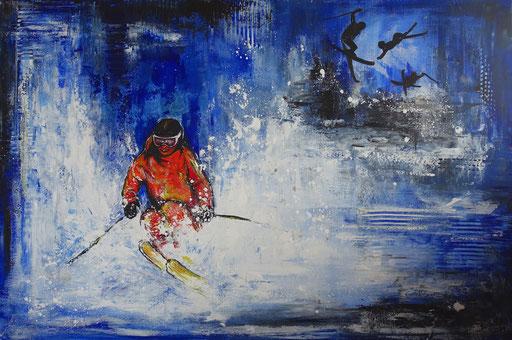 S 62 - Sport Gemälde Wandbild Skifahrer Tiefschnee