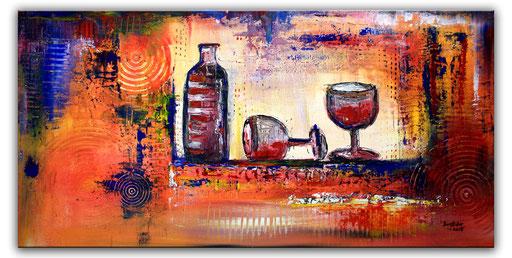 238 Verkaufte abstrakte Malerei Weinflasche Weingläser Wein rot