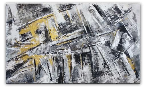 224 Verkaufte abstrakte Malerei - Labyrinth grau gold