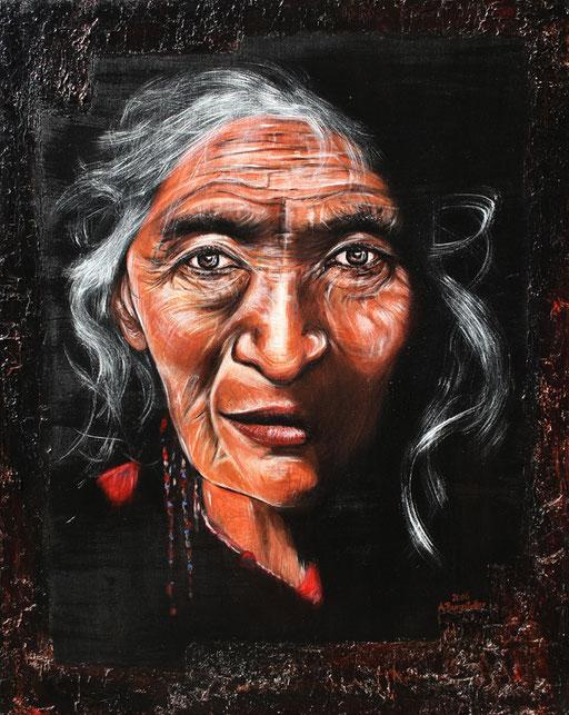 P 60 - Künstler Portrait Gesichter Gemalt - Indianer