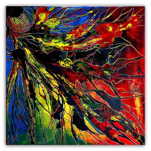 317 - Farbenfluss Gemälde abstrakt Liquid Painting 110x110