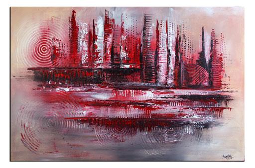 247 Verkaufte abstrakte Malerei rot silber grau querformat