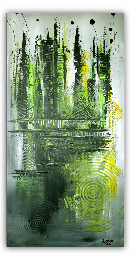 223 Verkaufte abstrakte Malerei - Grün hochformat