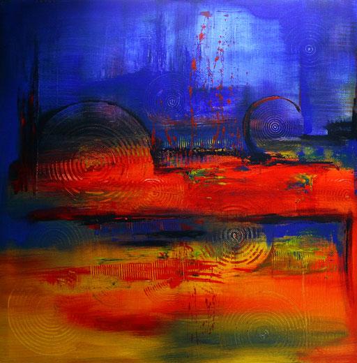 117 Verkaufte abstrakte Bilder - Meeresgrund gemalt - gelb rot blau