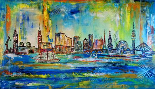 S 74 - Malerei Bild Wandbild Hamburg Oper Skyline abstrakt