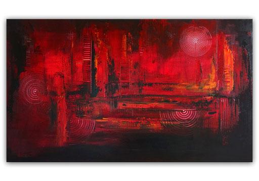 295 - Abstraktes Gemälde Glutrot - 70x120