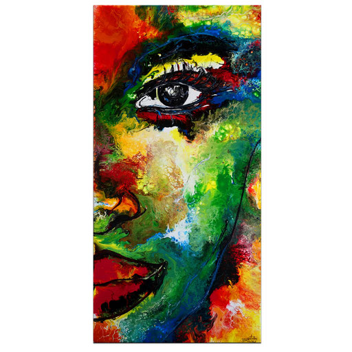 P119 Porträt Malerei Fluid Art Pouring Frauen Gesichter