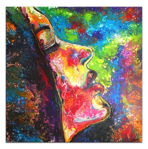 P124 Porträt Malerei Fluid Art Pouring Frauen Gesichter