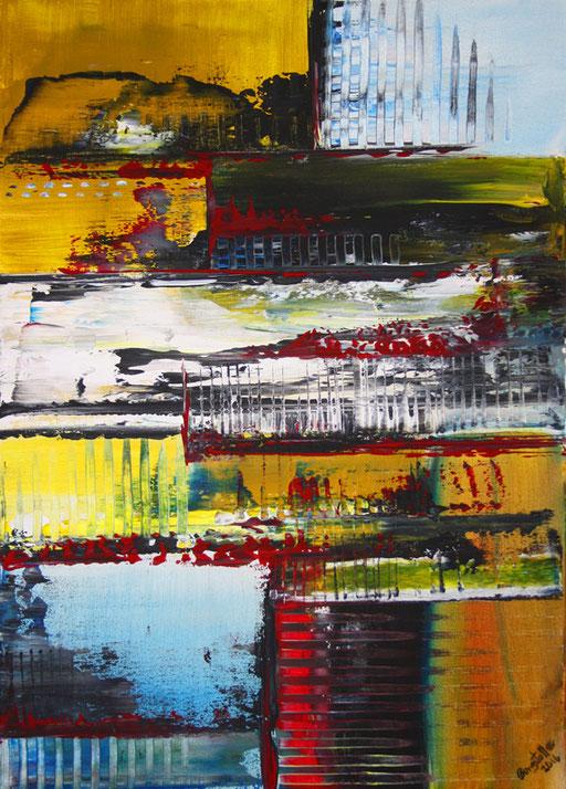 63 abstraktes Unikat handgefertigt - Formen 1 - rot gelb schwarz grau
