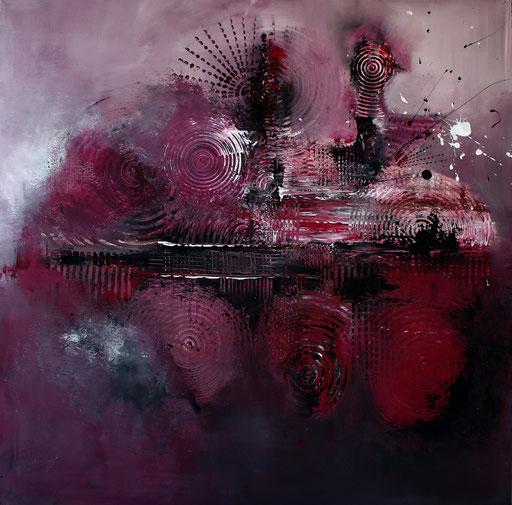 142 Verkaufte Bilder abstrakt - Radarstation gemalt - grau rot