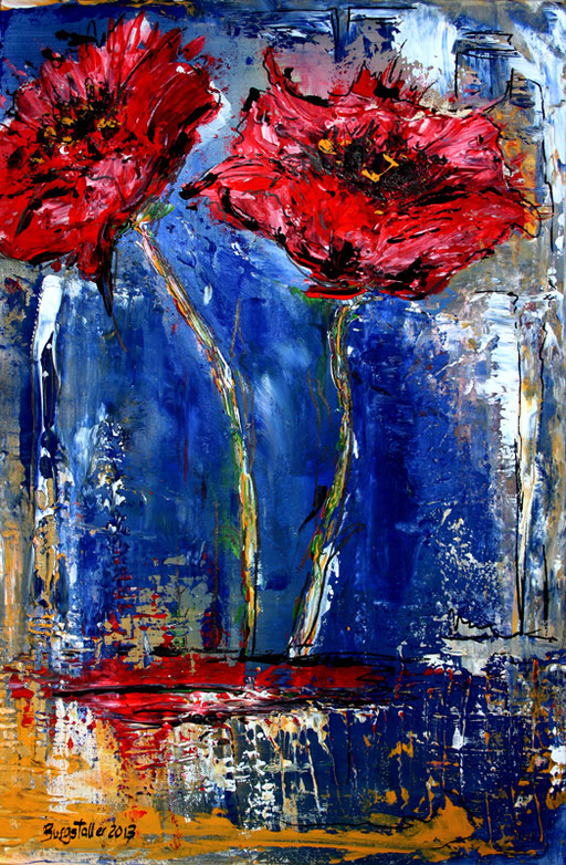 B 23 - Blumenbilder auf Leinwand - Mohnblumen blau rot