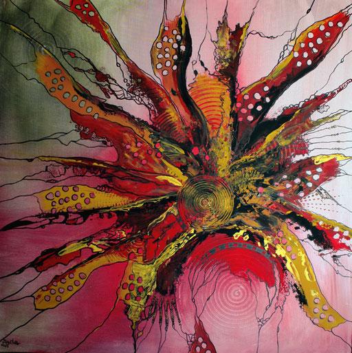 54 abstraktes Unikat handgefertigt - Feuervogel - rot gelb grau