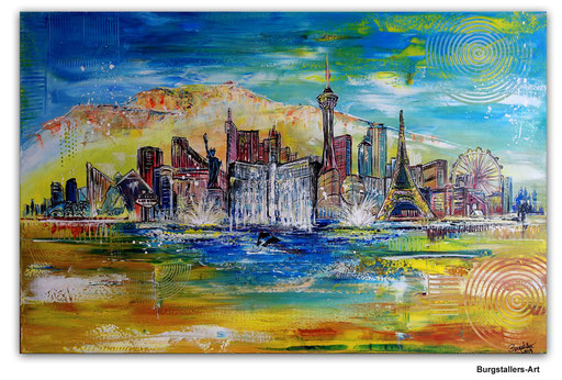 S 59 -Las Vegas Skyline 80x140 - Auftragsmalerei Stadtbild Stadt Gemälde