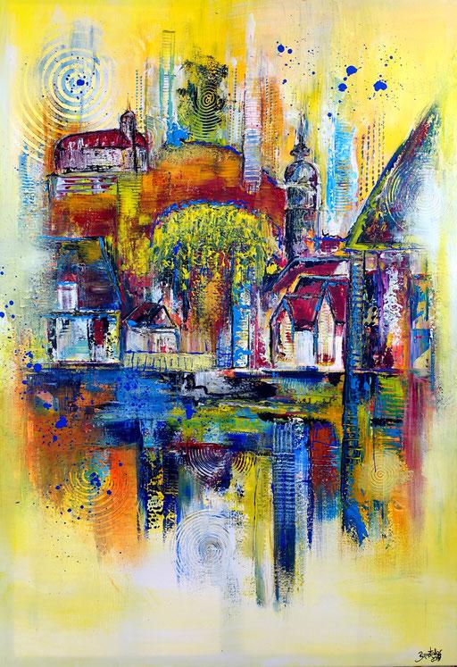 S 40 - Vaihingen abstrakt Gemälde Stadtbild