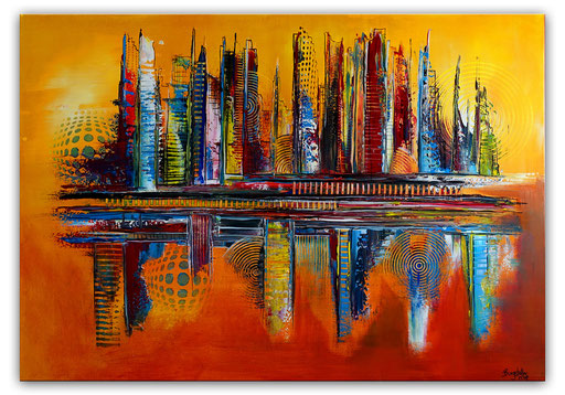 299 - Abstraktes Gemälde Cosmopolitan gelb orange 81x116
