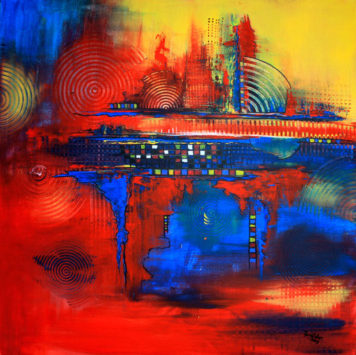86 abstraktes Unikat handgefertigt - Highway - blau gelb rot gemalt