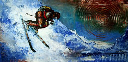 S 1 - Sport Gemälde Skifahrer Leinwandbild - Abfahrt