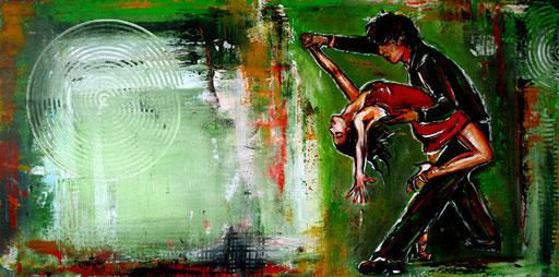 S 6 - Wandbild Tanzpaar - Tanz Gemälde Tänzer - Mambo