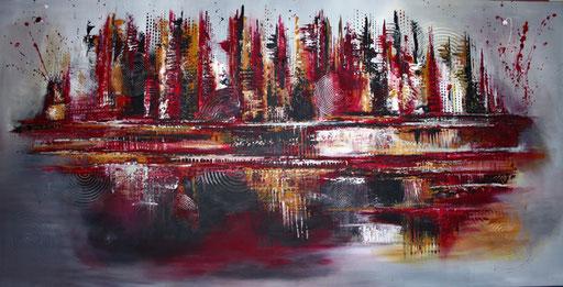 64 abstraktes Unikat handgefertigt - Galonska - rot grau silber
