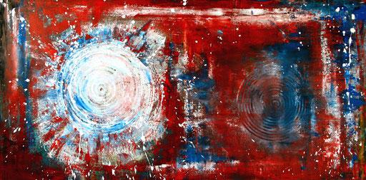 195 Verkaufte abstrakte Malerei - Turning rot weiß blau