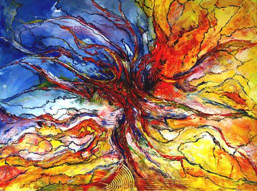 137 Verkaufte abstrakte Bilder - Oktupus gemalt - blau gelb rot