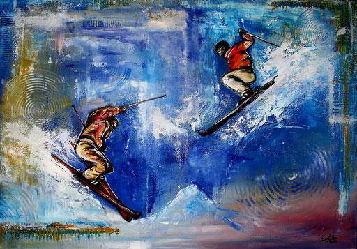 S 17 - Sport Gemälde Skifahrer Leinwandbild - Ski Jumper