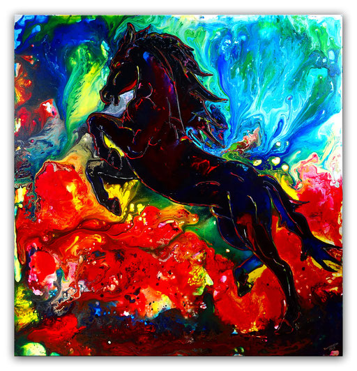 T 26 - Tierbilder Malerei Tiere - Feuerpferd 2